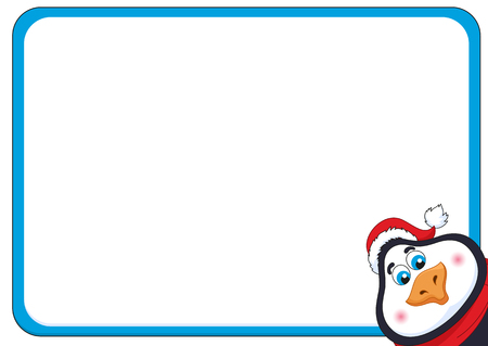 School background with cheerful New Years penguin, funny frame and birdie