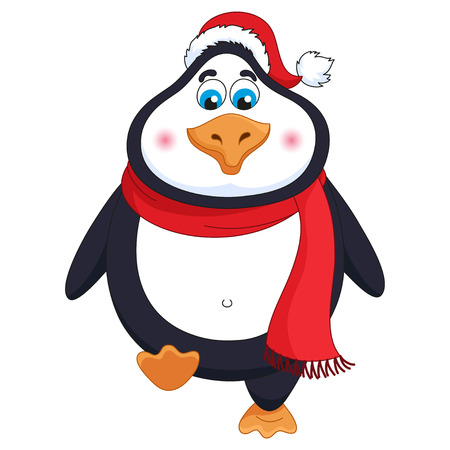New Year's cheerful cute penguin in winter red hat and scarf