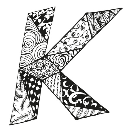 Vintage monogram K. Doodle alphabet character with patterns or coloring book page