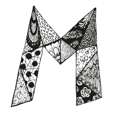 Vintage monogram M. Doodle alphabet character with patterns or coloring book page.