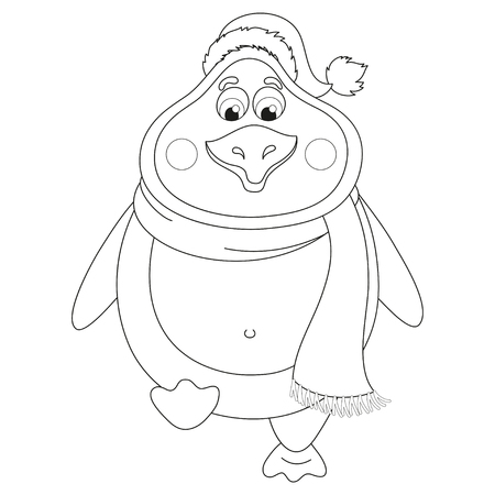 New Years penguin in winter hat and scarf