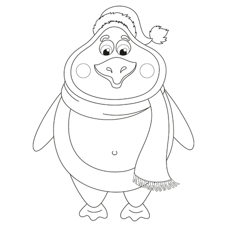 New Years cheerful cute penguin in winter hat and scarf, fat birdie standing, funny character, coloring book page for children, vector illustration