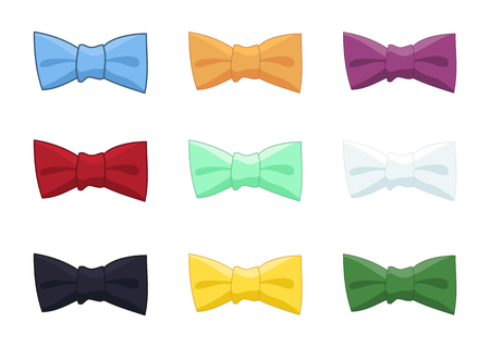 Collection of bow ties isolated, colorful accesories with different strokes for gentleman, vector illustration