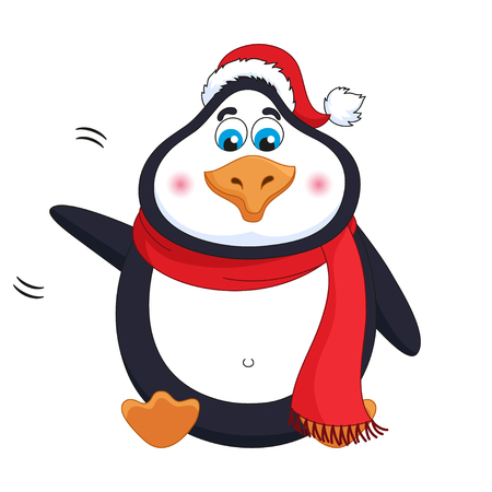 New Years cheerful cute penguin in winter red hat and scarf sits, fat birdie welcomes, waves paw, greets, funny character, vector illustration Ilustração