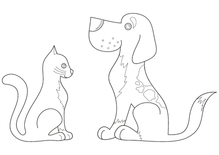 Cat and dog look at each other, the best friends, coloring book page for children, vector illustration Illusztráció