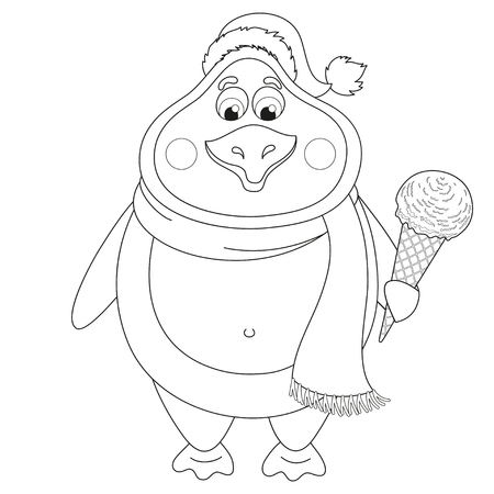 Cartoon penguin in New Years hat with ice-cream in horn, vector illustration, coloring book