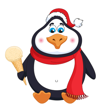 Cartoon penguin in red hat with caramel cream ice-cream in horn sits, vector illustration