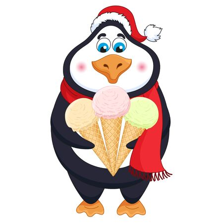 New Years cartoon penguin in red hat with three ice-creams in horns