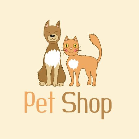 Funny cat and dog are best friends, sign for pet shop logo