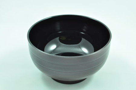 lacquer ware: Empty Japanese Black Veined Bowl Stock Photo
