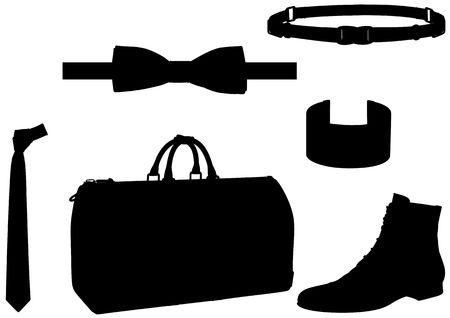 Gentlemans set: bowtie, bag, shoes, etc. photo
