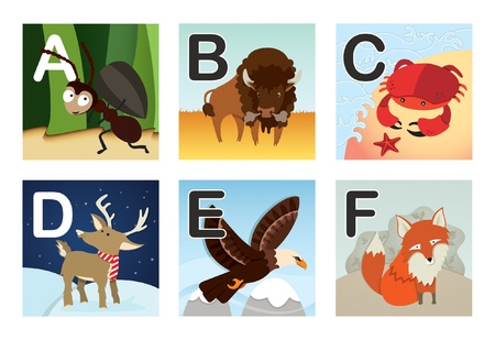 children crab: Animal alphabet Illustration