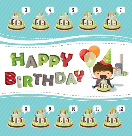 A birthday card with a boy holding balloons and trying to blow out the candle Vector