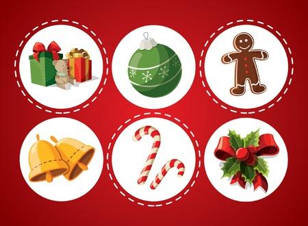galletas de jengibre: Conjunto de artículos de Navidad Vectores