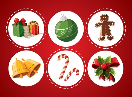 Set of Christmas items Vector