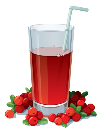 Glass of cranberry juice with a straw surrounded by cranberries. Isolated on white background.