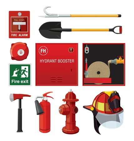 fire extinguisher sign: Set of firefighting equipment