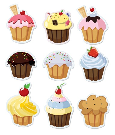muffins: Set of delicious cupcakes isolated on white background