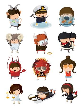 escorpio: Niños vestidos como los signos del zodiaco Vectores