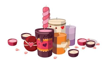 Set of candles isolated on white background. Illustration