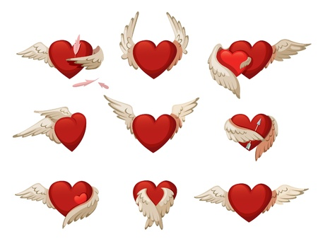 Set of hearts with wings. Isolated on white background. Çizim