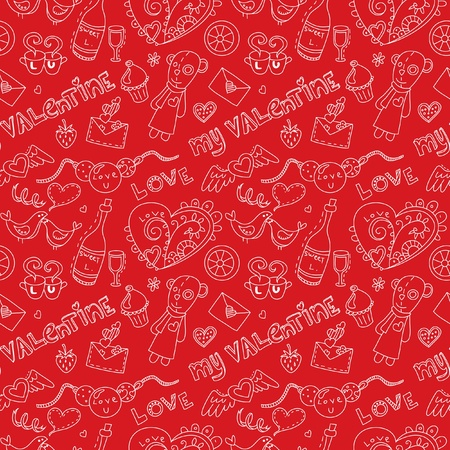 14 february: Pattern for st. Valentines day. On red background.