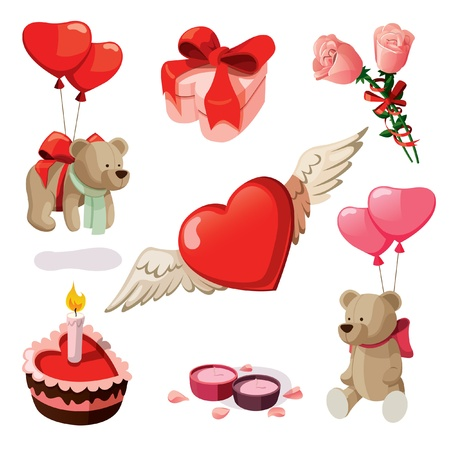 Set of elements for st. Valentines day. Isolated on white background. Illustration
