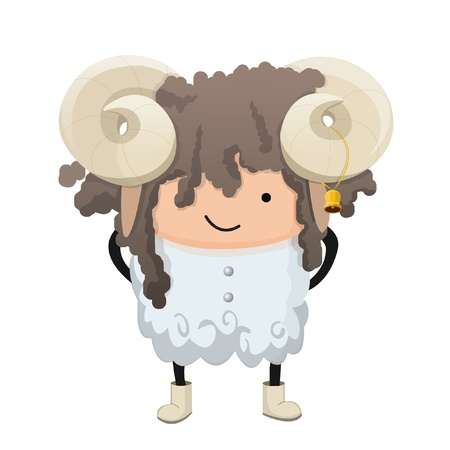 curly hair child: A child dressed up like a sign of zodiac. Aries