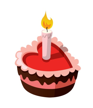 Delicious heart-shaped cake with a burning candle. Isolated on white background.