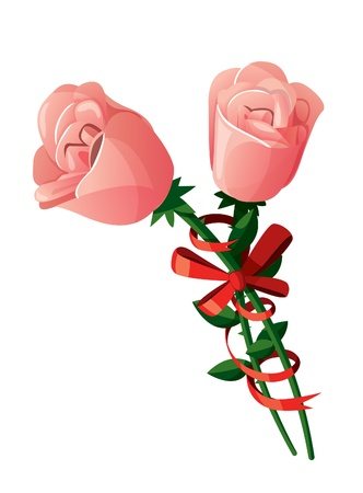 feb: A couple of pink roses with red ribbon around them. Isolated on white background. Illustration