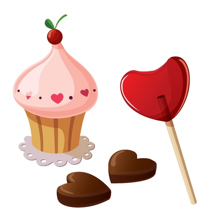 Valentine sweets, including lollypop, chocolate sweets and cupcake. Isolated on white background. Stock Vector - 12155656
