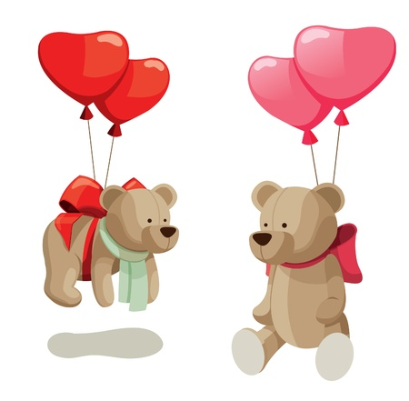 heart shaped: Light brown teddy bears with balloons. Isolated on white background.