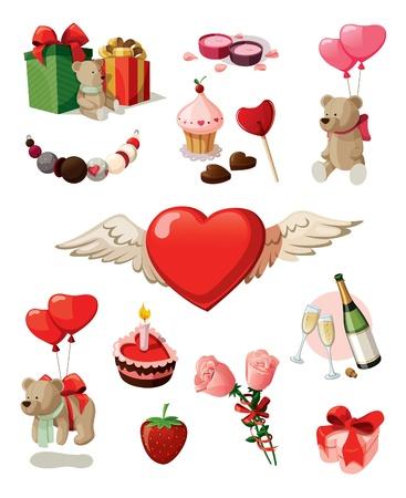 흰색 배경에 고립 된 성 발렌타인의 날에 대한 요소의 집합 일러스트