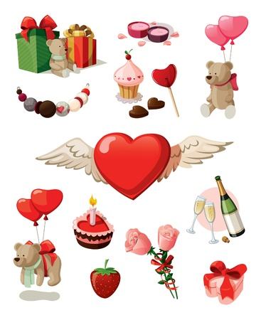 Set of elements for st  Valentine s day  Isolated on white background  Illustration