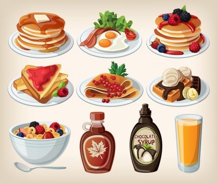 Classic breakfast cartoon set with pancakes, cereal, toasts and waffles  Vector