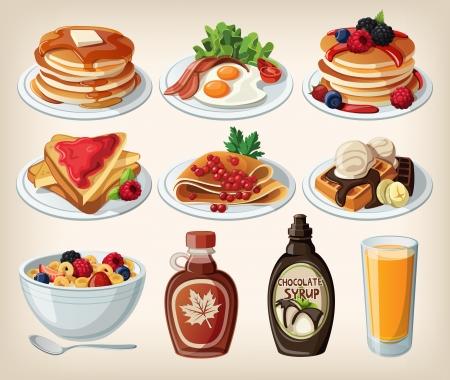 Klassiek ontbijt cartoon set met pannenkoeken, ontbijtgranen, toast en wafels