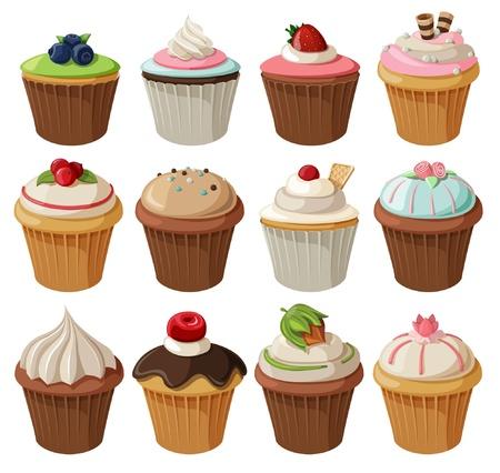 다양한 토핑과 함께 맛있는 컵 케이크의 집합입니다. 흰색 배경에 고립