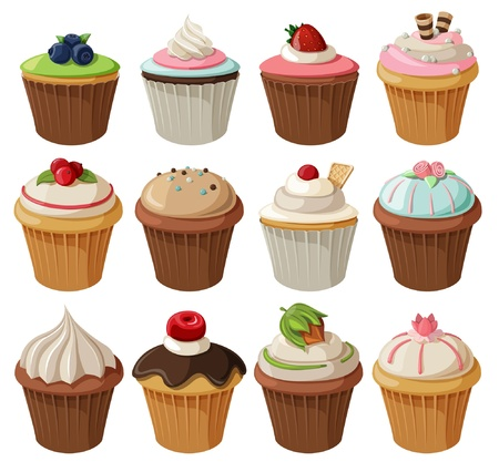 birthday cupcakes: Set of delicious cupcakes with different toppings. Isolated on white background