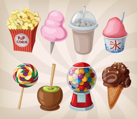 A collection of fair drinks and sweets.  Vector