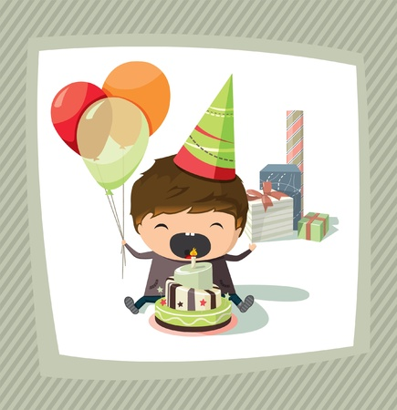 blow out: A birthday card with a boy holding balloons and trying to blow out the candle