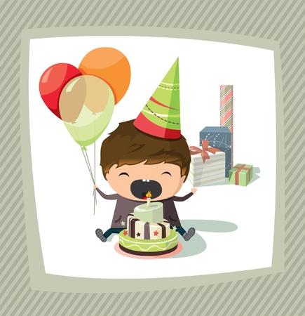 blow out: Una carta di compleanno con un ragazzo in possesso palloni e cercando di spegnere la candela