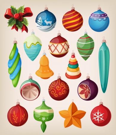 Set van vintage kerstballen Kleurrijke geïsoleerde pictogrammen Stock Illustratie