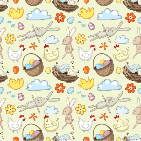 Decorative Easter pattern with eggs, rabbits and chickens