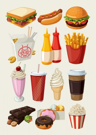 hot chocolate drink: Set of colorful cartoon fast food icons  Isolated vector