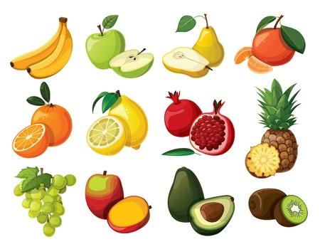banaan cartoon: Een set van heerlijk fruit geà ¯ soleerd op witte achtergrond