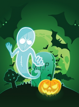 Halloween poster with ghost near grave  Vector
