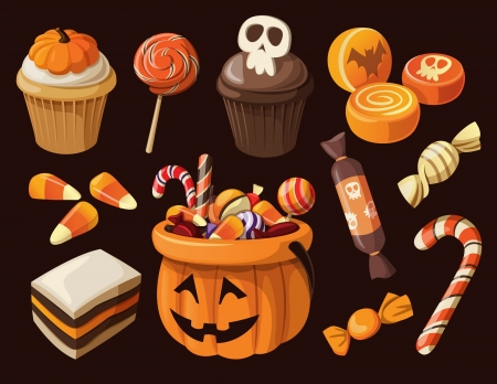 Conjunto de coloridos dulces de Halloween y los iconos de caramelos