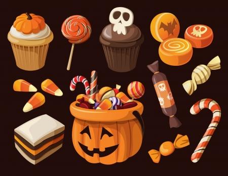 Set van kleurrijke halloween snoep en snoep iconen Stock Illustratie
