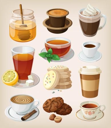 tomando café: Conjunto de delicioso café bebidas calientes, té y suministros Aislado Vectores