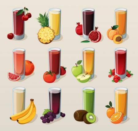 jugo de frutas: Conjunto de sabrosos jugos recién exprimidos Vectores